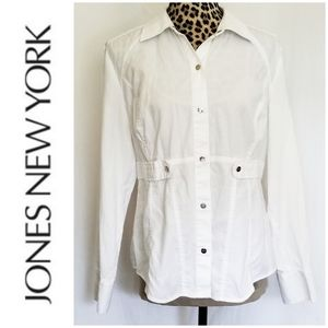 🎀 3/$25 Jones NY White Snap Up Fitted Blouse